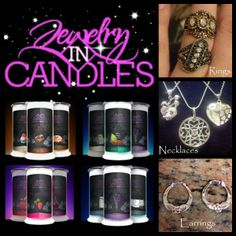 Choose your ring size or favorite jewelry type. Jewelry Hidden in EVERY scented product!  100% Cleaning Burning Soy Wax. Excellent aroma and nice price. https://www.jewelryincandles.com/store/scentswithgifts