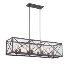 Designers Fountain High Line Satin Bronze Industrial Clear Glass Linear Kitchen Island Light at Lowe's. The High Line Collection comes in Satin Bronze with Clear glass. This Traditional High Line 8 Light Linear Chandelier will complement the decor in any Linear Chandelier, Chandelier Lighting, Rectangular Chandelier, Kitchen Chandelier, Lantern Chandelier, Lanterns, Industrial Kitchen Island Lighting, Industrial Style, Satin