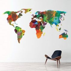Colourful World Map Wall Sticker Decal. Transform your walls with this fantastic world map wall decal from Icon Wall Stickers. Available in a range of sizes. Map Nursery, Nursery Wall Decals, Earth World Map, World Map Continents, World Map Wall Decal, Detailed World Map, World Map Wallpaper, Water Color World Map, Map Wall Decor