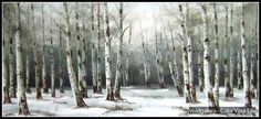 Oil Painting Forest Silver Birch Snow b33