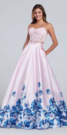 Beautiful two piece dress with a lace corset bodice and printed mikado skirt.