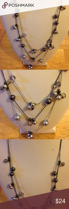 Pearl /beads 3 strand necklace Beautiful silver plated necklace faux pearl necklace Jewelry Necklaces