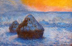 Claude Monet (1840–1926) Wheatstacks (Stacks of Wheat)(Sunset, Snow Effect) Oil on canvas,  1891 65.3 × 100.4 cm (25.7 × 39.5 in) Art Institute of Chicago