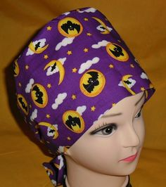 Affordable Halloween Scrubs Scrub Caps Pixie Hat Fun Surgical Hats OR Cap Hospital Hats BATS