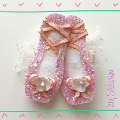 Hey, I found this really awesome Etsy listing at https://www.etsy.com/listing/235614361/ballet-slippers-glitter-hair-clip