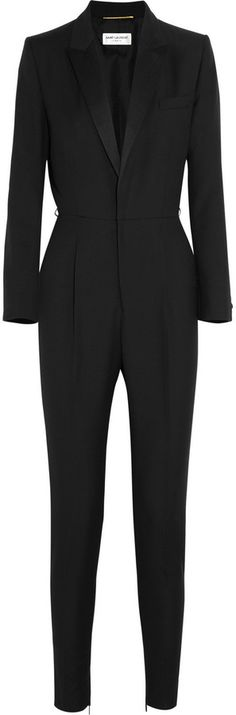 Saint Laurent Wool-gabardine tuxedo jumpsuit, Saint Laurent makes tailored dressing easy with this tuxedo-inspired wool-gabardine jumpsuit. It's padded at the shoulders for sleek structure, and the tapered cut is flattering on both tall and petite frames.