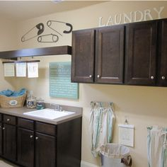 Small Laundry, Laundry Room, Safety Pins, Fabric Shower Curtains, Sweet Home, Kitchen Cabinets, Home Decor, Laundry Room Small, Decoration Home