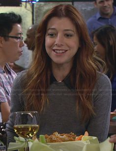 Lily's grey sweater with leather collar on How I Met Your Mother. Outfit Details: http://wornontv.net/23604/ #HIMYM