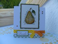 Cute idea with the pear.  Would make a good Teacher's card, could switch the pear for the traditional apple