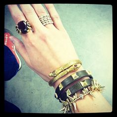 Playing with stackable bracelets and rings. Love the spike and snake trends. #stelladot #armcandy