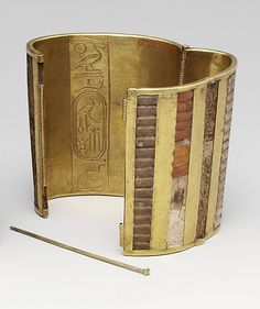 Hinged Cuff Bracelet  Period: New Kingdom Dynasty: Dynasty 18 Reign: reign of Thutmose III Date: ca. 1479–1425 B.C. Geography: Egypt, Upper Egypt; Thebes, Wadi Gabbanat el-Qurud, Tomb of the 3 Foreign Wives of Thutmose III, Wadi D, Tomb 1