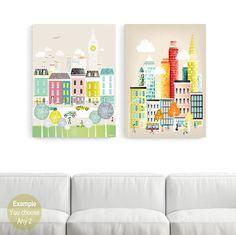 LARGE Wall Art Canvas Prints, ANY 2 Large Canvas Home Decor; New York, London, Paris, Rome, Chicago, Amsterdam, San Francisco, Los Angeles