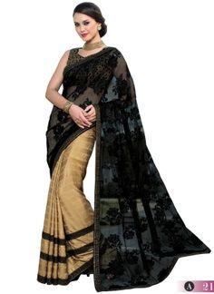 Black And Brown Georgette Silk With Net Half N Half Saree