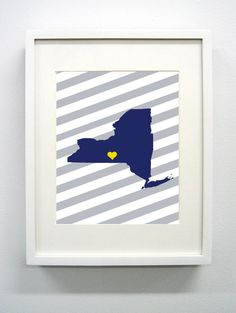 Ithaca New York State Glicée Prints  8x10  Blue by PaintedPost, $15.00 #paintedpoststudio - Ithaca College - Bombers- What a great and memorable gift for graduation, sorority, hostess, and best friend gifts! Also perfect for dorm decor! :)