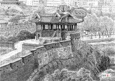 [김영택 화백의 세계건축문화재 펜화 기행] 수원 화성 방화수류정 - 중앙일보 뉴스 Ink Pen Drawings, Perspective Drawing, Pen Sketch, Chinese Architecture, Korean Art, Korean Traditional, Black And White Drawing, Old Pictures, Culture