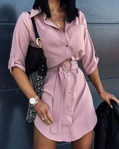Shop Chic Me - Women's Best Online Shopping - Offering Huge Discounts on Dresses, Lingerie , Jumpsuits , Swimwear, Tops and More. Everyday Casual Outfits, Cute Casual Outfits, Casual Dresses, Belted Shirt Dress, Look Fashion, Fashion Shoes, Online Shopping For Women, Womens Fashion Online, African Fashion