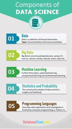 Data science consists of many algorithms, theories, components etc. Before detailed study, 5 basic components of data science are discussed here. Learn Computer Coding, Computer Basics, Learn Computer Science, Computer Technology, Computer Programming, Teaching Technology, Technology Integration, Teaching Biology, Machine Learning Artificial Intelligence