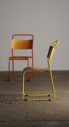 This vintage chair is based on early 20th century Bauhaus Industrial Stackable chair designed by Bruno Pollack. A modular steel tube frame is connected with a molded veneer seat the give the stackable Rubik chair its incredible durable and timeless aesthetic.