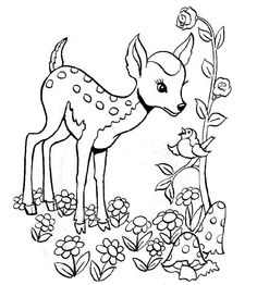 Baby Deer Coloring Page Baby deer coloring pages. Print baby deer coloring page bw print baby deer coloring page color the deers coat is a reddish brown in the spring and summer Forest Coloring Pages, Deer Coloring Pages, Coloring Pages For Kids, Coloring Books, Animal Activities For Kids, Deer Drawing, Online Coloring, Easy Watercolor