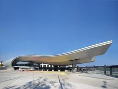 The world's 10 best-designed bus stations - DesignCurial Concept Models Architecture, Canopy Architecture, Modern Architecture, Plaza Design, Bus Terminal, Filling Station, Bus Station, Train Station, Bridge Design
