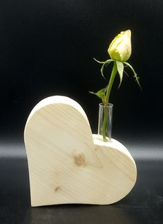 Heart vase * * * solid, untreated wood with glass jar decoration for wedding Valentine's Day or just like that . - Handwerk - Heart vase solid untreated wood with glass jar decoration for wedding Valentines Day or just lik - Valentines Day Gifts For Him, Valentines Day Decorations, Wooden Crafts, Diy And Crafts, Creative Crafts, Yarn Crafts, Paper Crafts, Wood Projects, Woodworking Projects