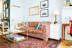 This Small Brooklyn Apartment Feels Comfortable, Not Cramped #refinery29  http://www.refinery29.com/homepolish-writers-brooklyn-retreat#slide-2  I traded a sturdy, wood coffee table for a glass one I found on Craigslist. Add a bit of bronze spray paint, and voilà — my living space suddenly felt lighter and brighter.