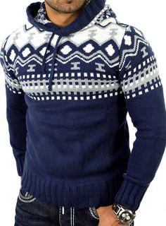 Reslad Herren Grobstrick Pullover Norweger Winter Kapuzenpullover RS-3013 Blau M: Amazon.de: Bekleidung