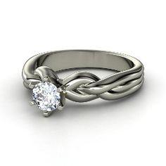 Eternal Braid Solitaire Ring, Round Diamond White Gold Ring from Gemvara