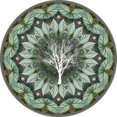 illustration, frame, Cicada Treeflower , Botanical Mandala, Mandala Art Matted Print. $35.00, via Etsy.