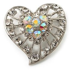 Silver Plated Crystal Filigree Heart Brooch Avalaya. $17.10. Metal Finish: rhodium plated. Theme: heart, romance. Collection: heart. Occasion: anniversary, mothers day, valentines day. Gemstone: diamante