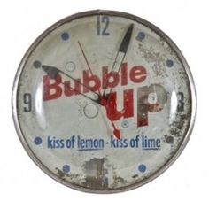 "original c. 1950's illuminated electric ""bubble up"" service station or diner wall clock. #vintageclock #antiqueclock #vintagesoda"