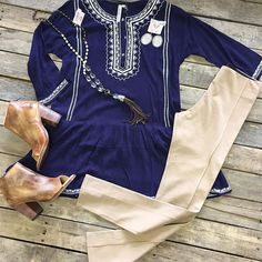 """#NEWARRIVALS  #Navy #Tunic $39.99 S-L #Leggings $19.90 #BedStu #PeepToe #Booties $209.99 6-7, 8.5, 9.5 #PinkPanache #Necklace $76.99 & #Earrings $39.99 We #ship! Call to order! 903.322.4316 #shopdcs #instagood #instashop #love #pink #style"" Photo taken by @daviscountrystore on Instagram, pinned via the InstaPin iOS App! http://www.instapinapp.com (09/14/2015)"