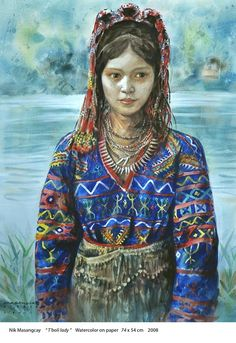 T'boli Lady by Nik Masangcay Filipino Art, Filipino Culture, Philippines Culture, Philippines Dress, Alibata, Vietnam, Philippine Art, Filipiniana, Cultural Diversity