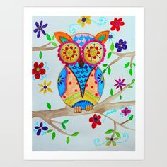 Mexican Folk Art Whimsical Owl Bird Painting                                                                                                                                                      More