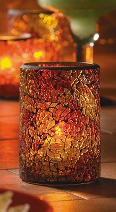 Crackle Glass Cylinder Lamp - an exotic mosaic look and a fascinating show of light. Three colors - Red & Gold, Gold and Blue & Purple Candle Lanterns, Candles, Hurricane Candle, Candle Lamp, Color Cobre, Lokal, Color Naranja, Bronze, Crackle Glass