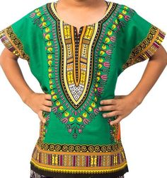 African Boys Dashiki Shirt Kids Mexican Poncho Top Hippie Girls Blouse Green L #Handmade #Hawaiian #Everyday