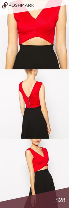 NASTY GAL ‼️ Red Crop Top 😍 Purchased from Nasty Gal. Brand is Fashion Union. Size 4/S. high low- type of crop top- extremely flattering! ✨worn only once! Nasty Gal Tops Crop Tops