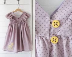 Mekkotehdas, girls vintage look dress with shoulder flounces, ruffles