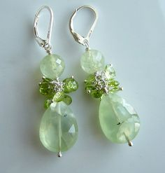 Peridot, Phrenite Sterling Earrings