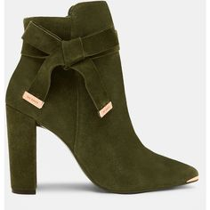 Bow detail suede ankle boots (600 PEN) ❤ liked on Polyvore featuring shoes, boots, ankle booties, khaki, suede ankle bootie, zip ankle boots, pointed toe booties, high heel boots and short suede boots