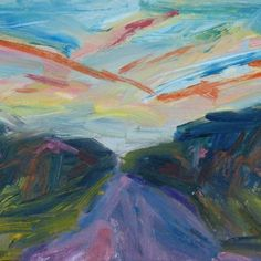 Sunset Route 202 ABSTRACT Painting 14 x 18 by Furiousdreams, $225.00