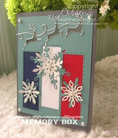 red, white and blue christmas card made with Memory Box dies, Christmas Cards To Make, Christmas Makes, Blue Christmas, Memory Box Dies, I Card, Red And White, Card Making, Arts And Crafts, Gift Wrapping