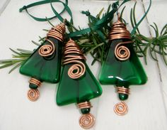 Christmas decorations Set of three green fused glass xmas tree decorations with copper wire detail. $30.00, via Etsy.