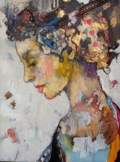 "Limited Edition Mixed Media Print Lady in profile Original mixed media Print on canvas  with gold ""Lucky Alice"" 12""x16"""