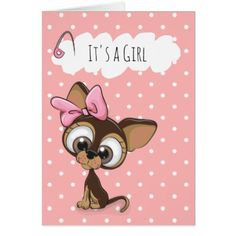 Girl Puppy Cartoon Card - dog puppy dogs doggy pup hound love pet best friend