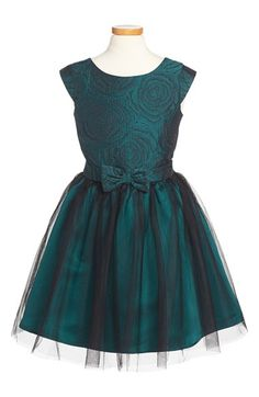 Free shipping and returns on Zunie 'Paige' Metallic Brocade & Tulle Dress (Big Girls) at Nordstrom.com. A jewel-tone floral brocade bodice tops a floaty tulle skirt on this pretty party dress styled with cap sleeves, a back sash and pert bow at the waist.