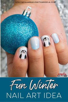 Tis the season for holiday parties, sparkly dresses and oh-so-much festive cheer. Take your Christmas look to the next level with this delightful holiday nail design and add wintry cuteness to your fingertips with Penguin Party, an adorable penguin motif! #christmasnaildesign #easynaildesign #colorstreetnails