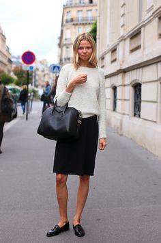 Magdalena Frackowiak // fuzzy textured knit, Givenchy bag, black skirt & loafers #style #fashion #modeloffduty #streetstyle