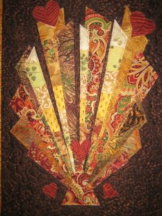 Art Quilt Art Deco Earth Tone Fabric Wall Hanging by TahoeQuilts, $54.00