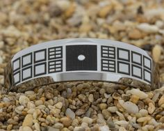 7mm Beveled-Tungsten Dr WhoNo Text Men's by PebbleBeachTreasures